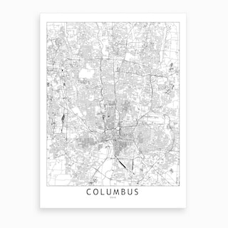 Columbus White Map Art Print