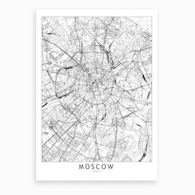 Moscow White Map Art Print