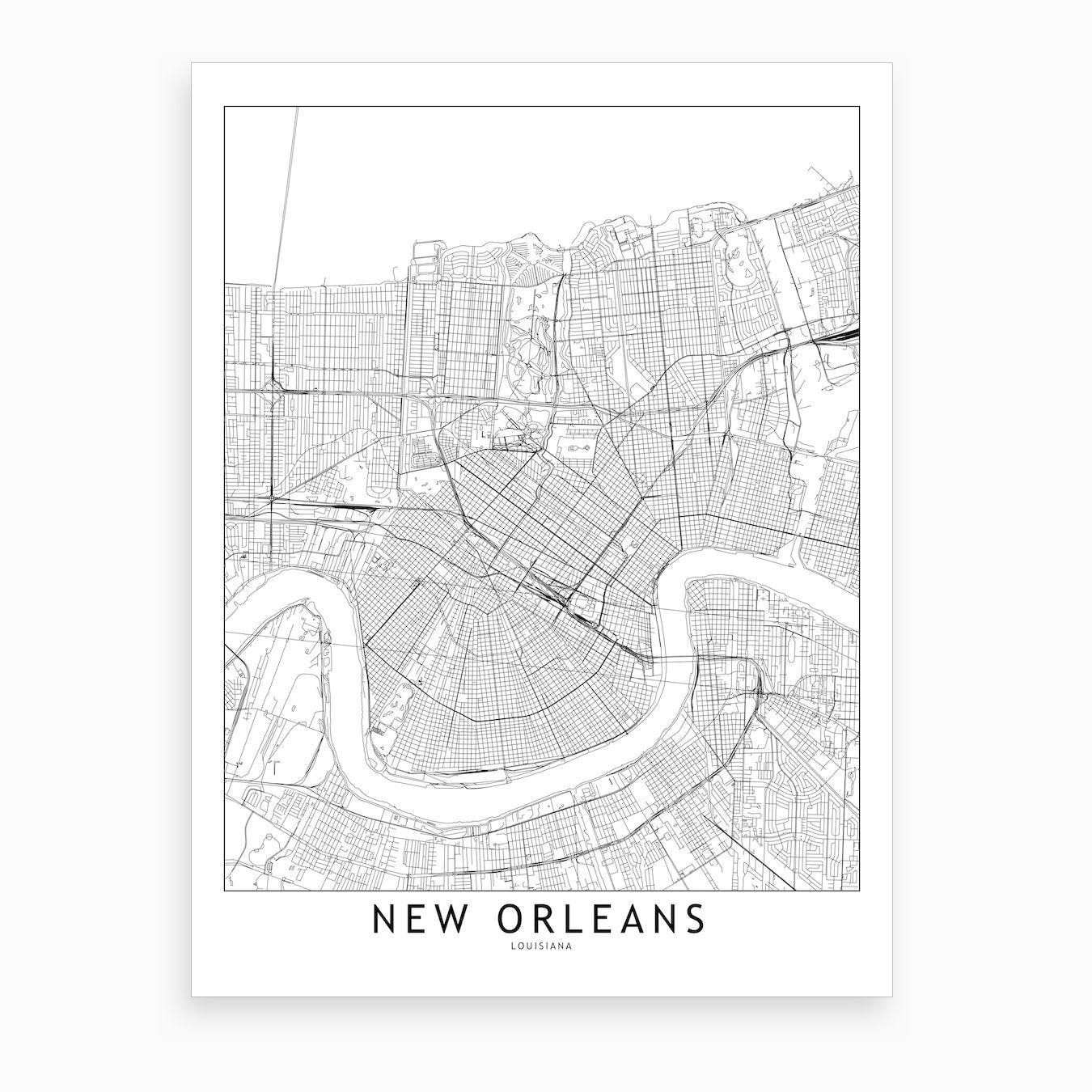 image about Printable Map of New Orleans known as Fresh new Orleans White Map Artwork Print