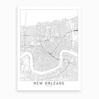 New Orleans White Map Art Print