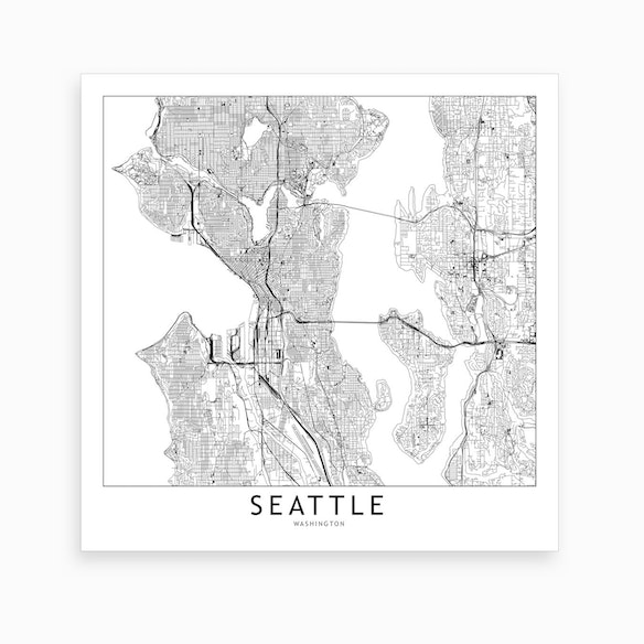 Seattle Map Art Print By Multiplicity Fy
