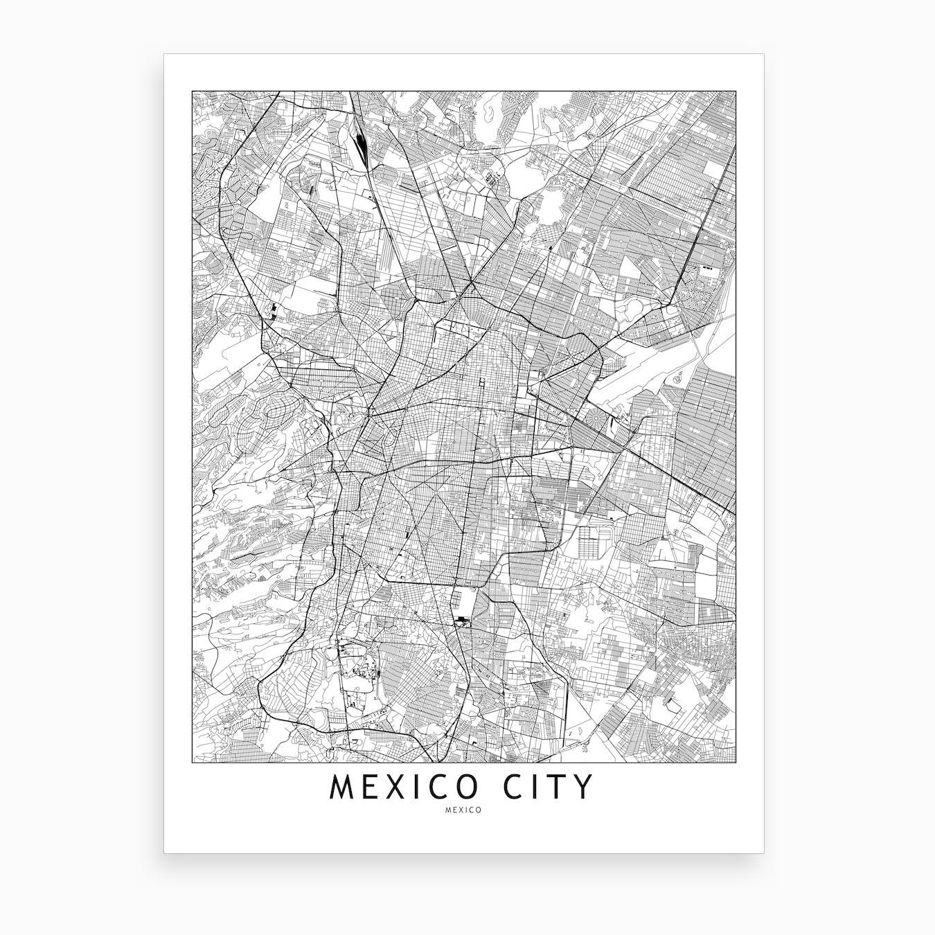 Mexico City White Map Art Print