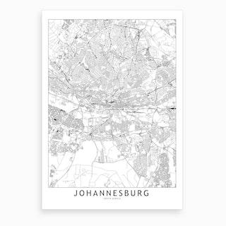 Johannesburg White Map Art Print