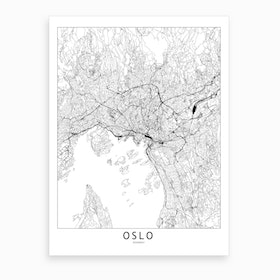 Oslo White Map Art Print