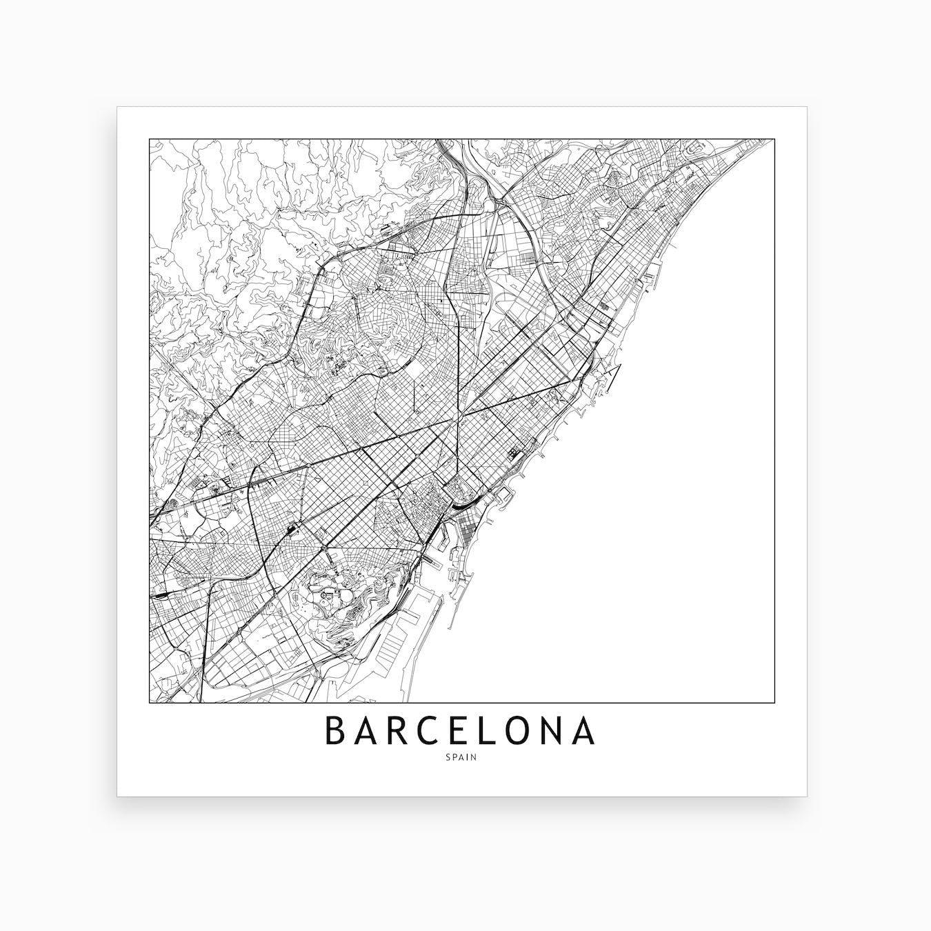 Barcelona Map Art Print