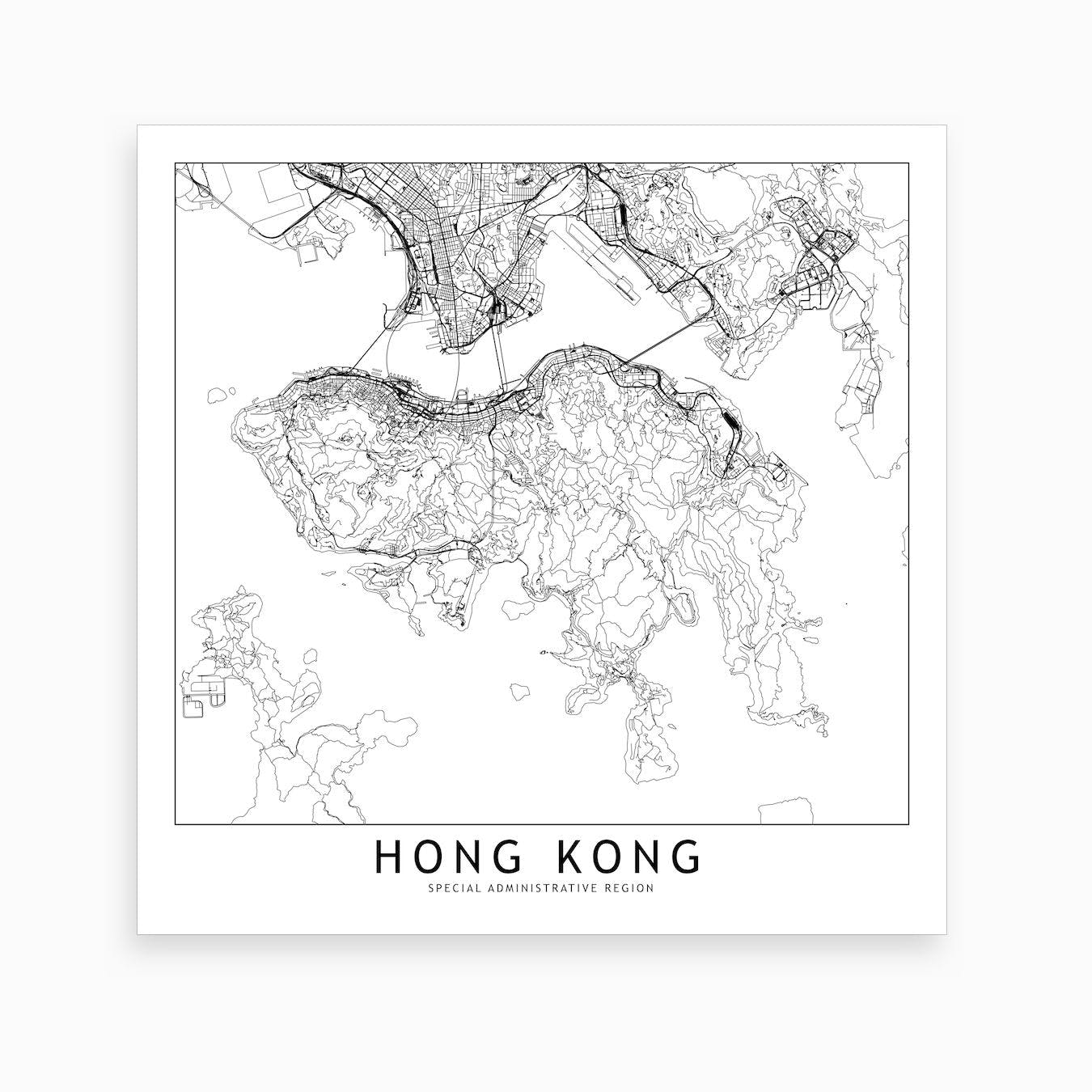 Hong Kong Map Art Print