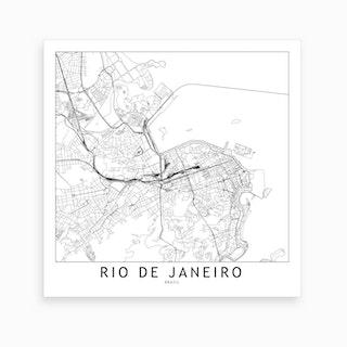 Rio De Janeiro Map Art Print