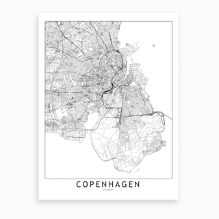 Copenhagen White Map Art Print