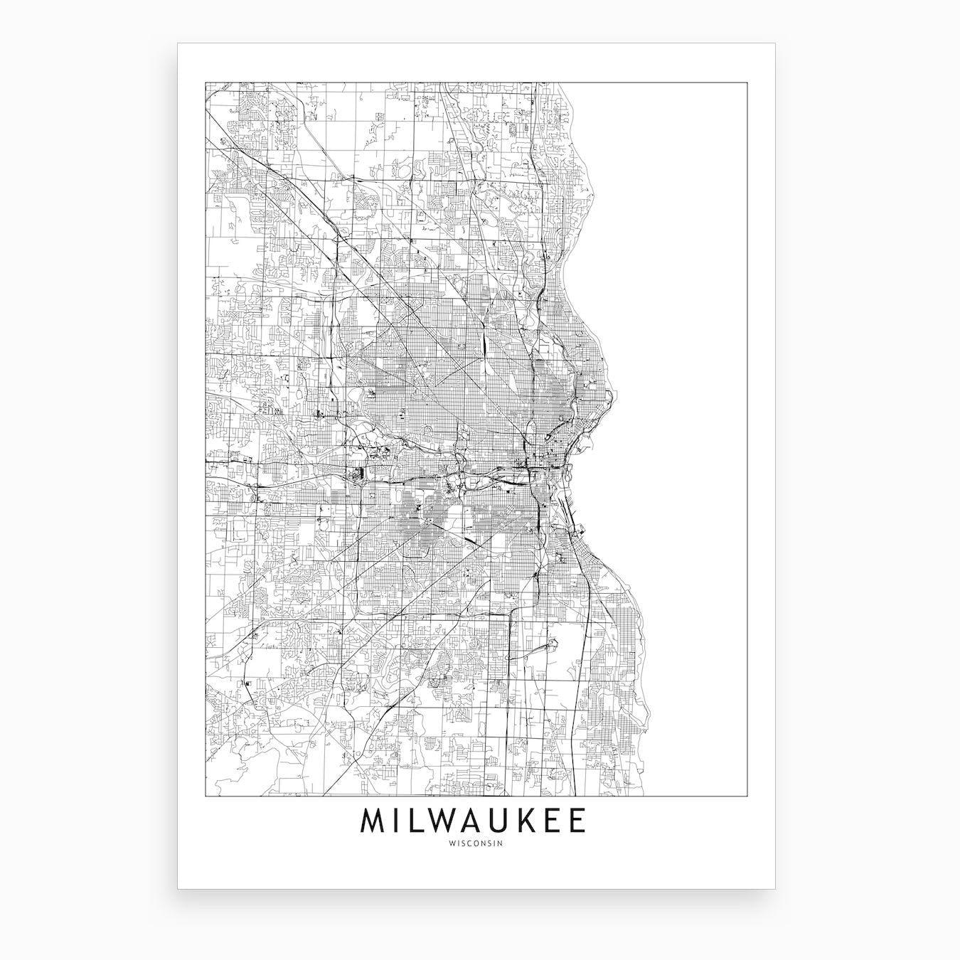 Milwaukee White Map Art Print