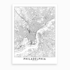 Philadelphia White Map Art Print