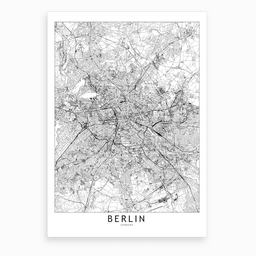 Berlin White Map Art Print I