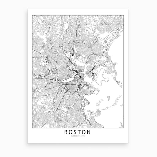 Boston White Map Art Print