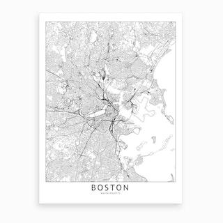 Boston White Map Art Print
