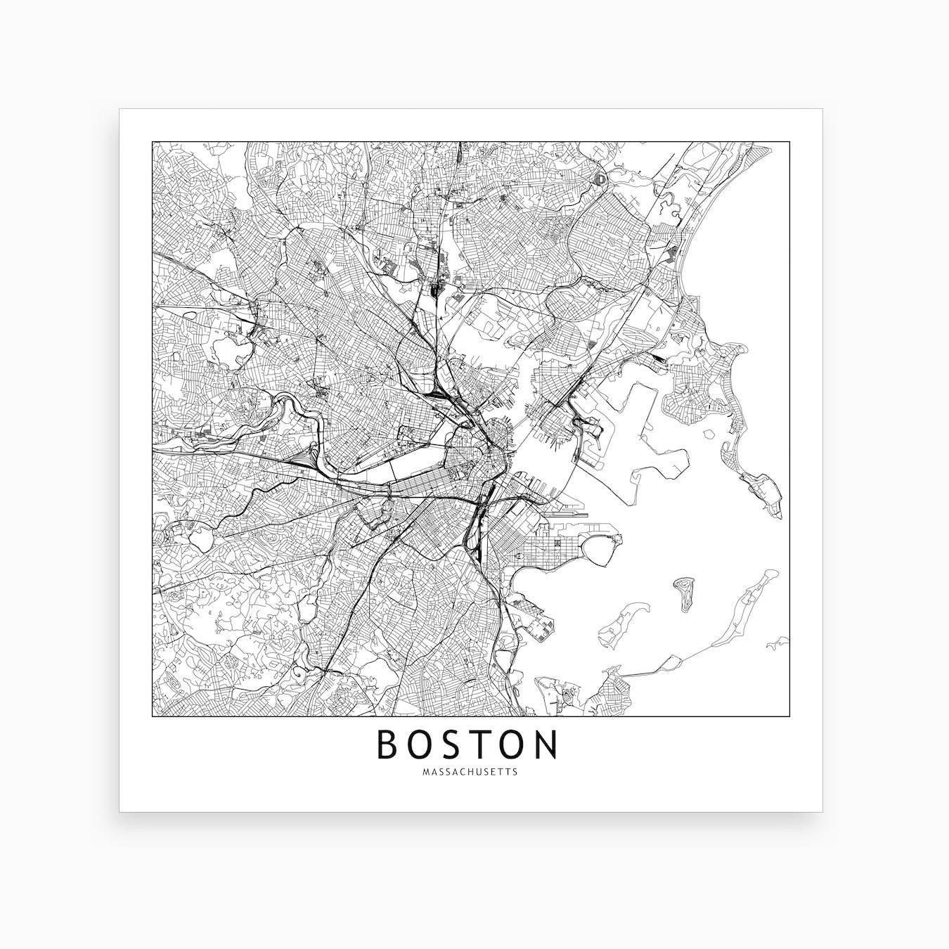 Boston Map Art Print I