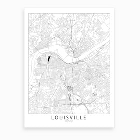 Louisville White Map Art Print