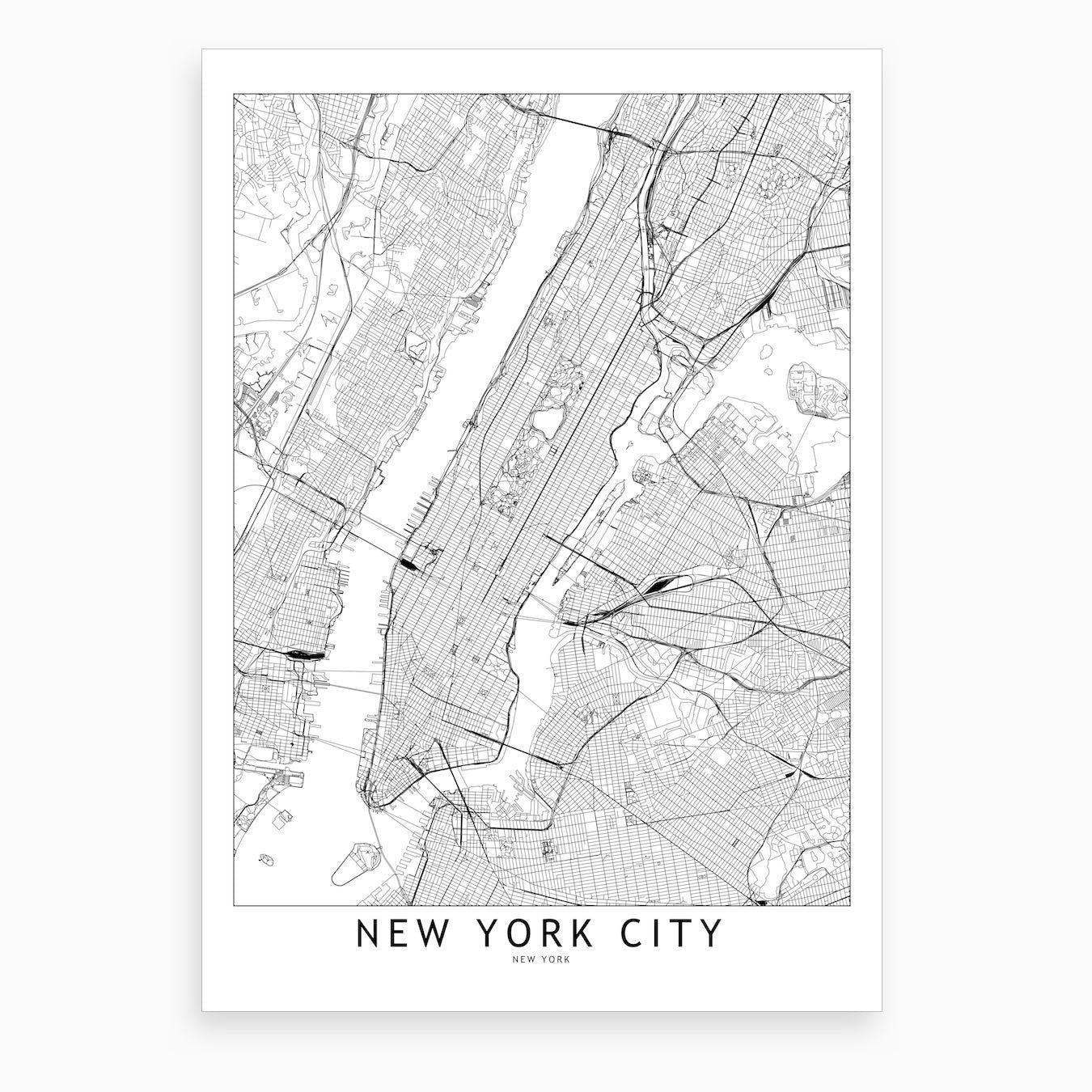 New York White Map Art Print