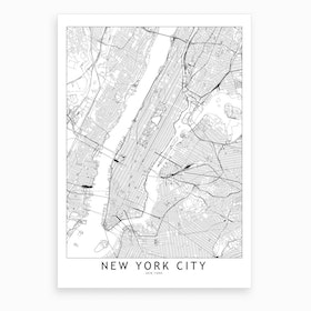 New York White Map Art Print