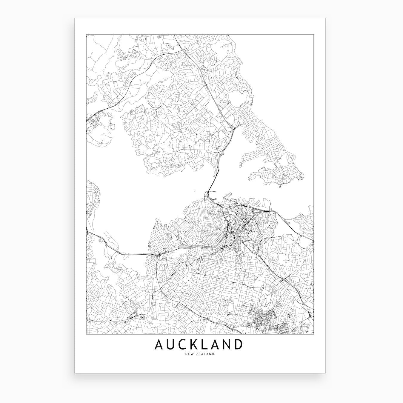 Auckland White Map Art Print