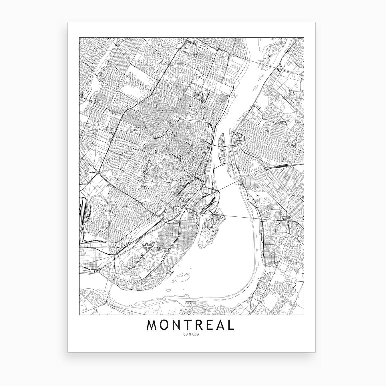 photo relating to Printable Map of Montreal called Montreal White Map Artwork Print