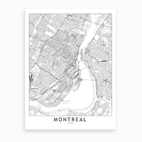 Montreal White Map Art Print