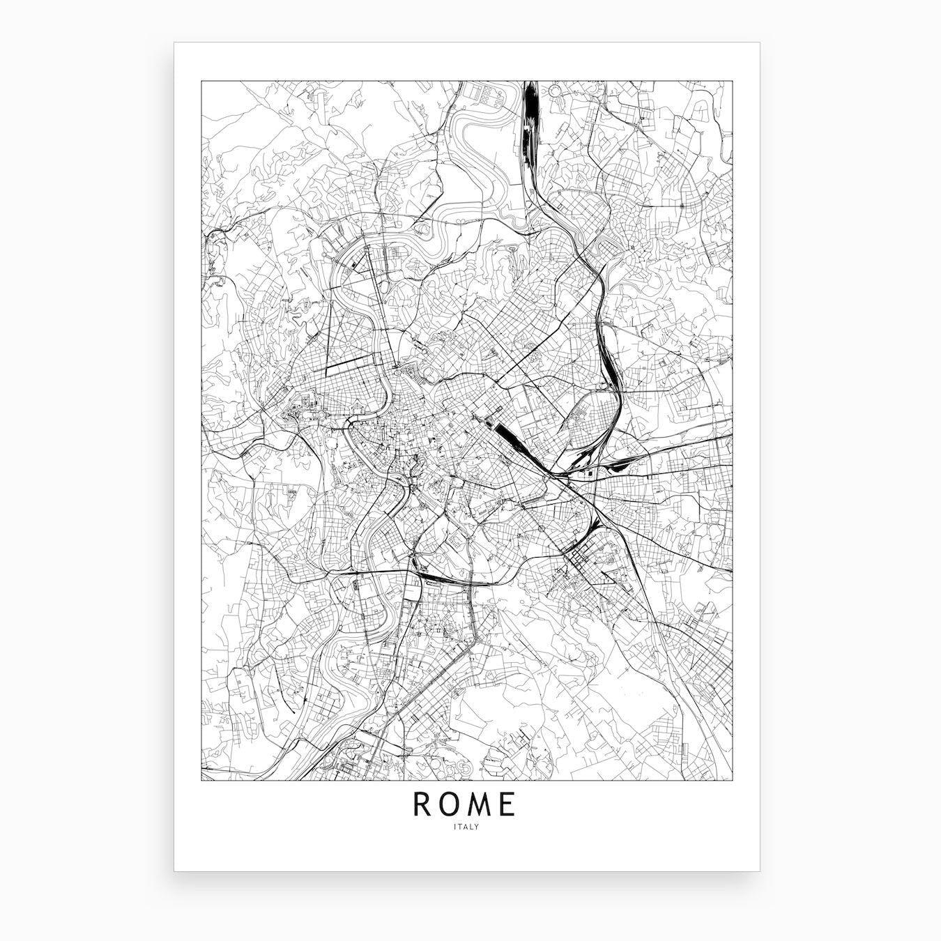 photo relating to Printable Maps of Rome identify Rome White Map Artwork Print