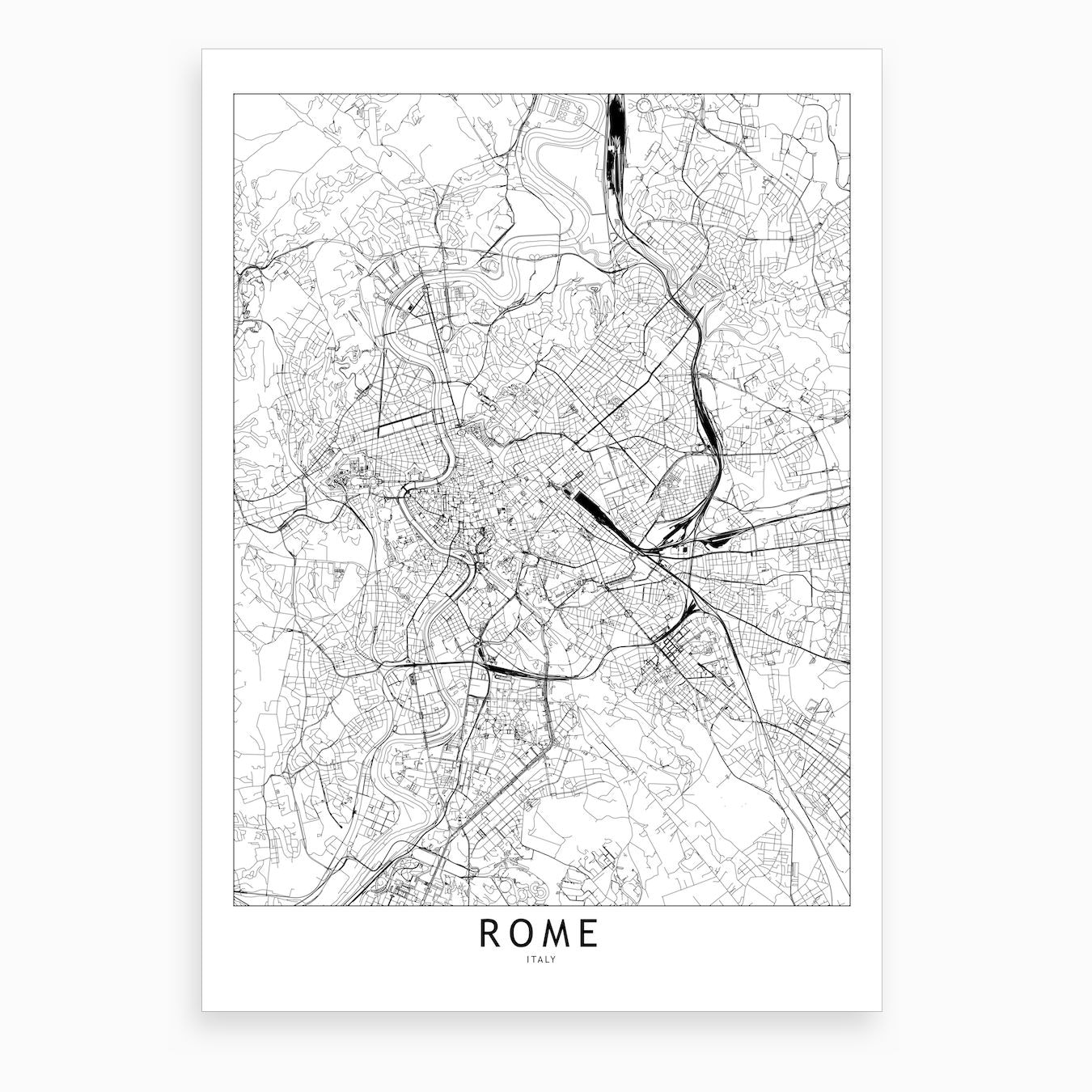 Black And White Map Of Italy.Rome White Map Art Print