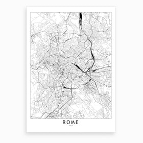 Rome White Map Art Print