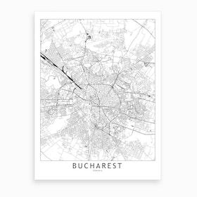 Bucharest White Map Art Print