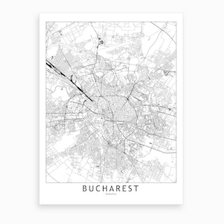 Bucharest White Map Art Print