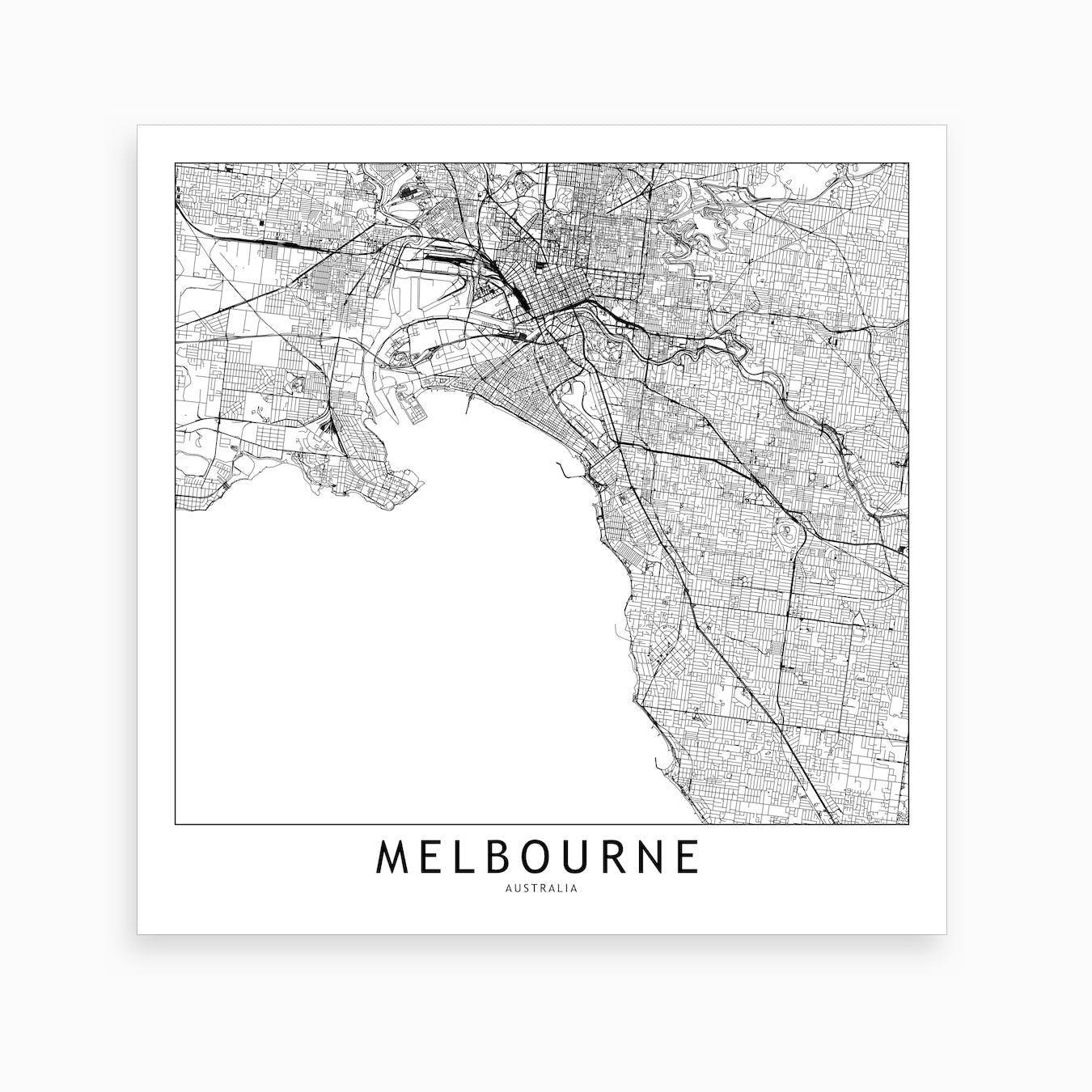 Melbourne Map Art Print I