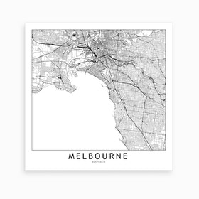 Melbourne Map Art Print I