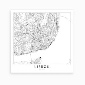 Lisbon Map Art Print