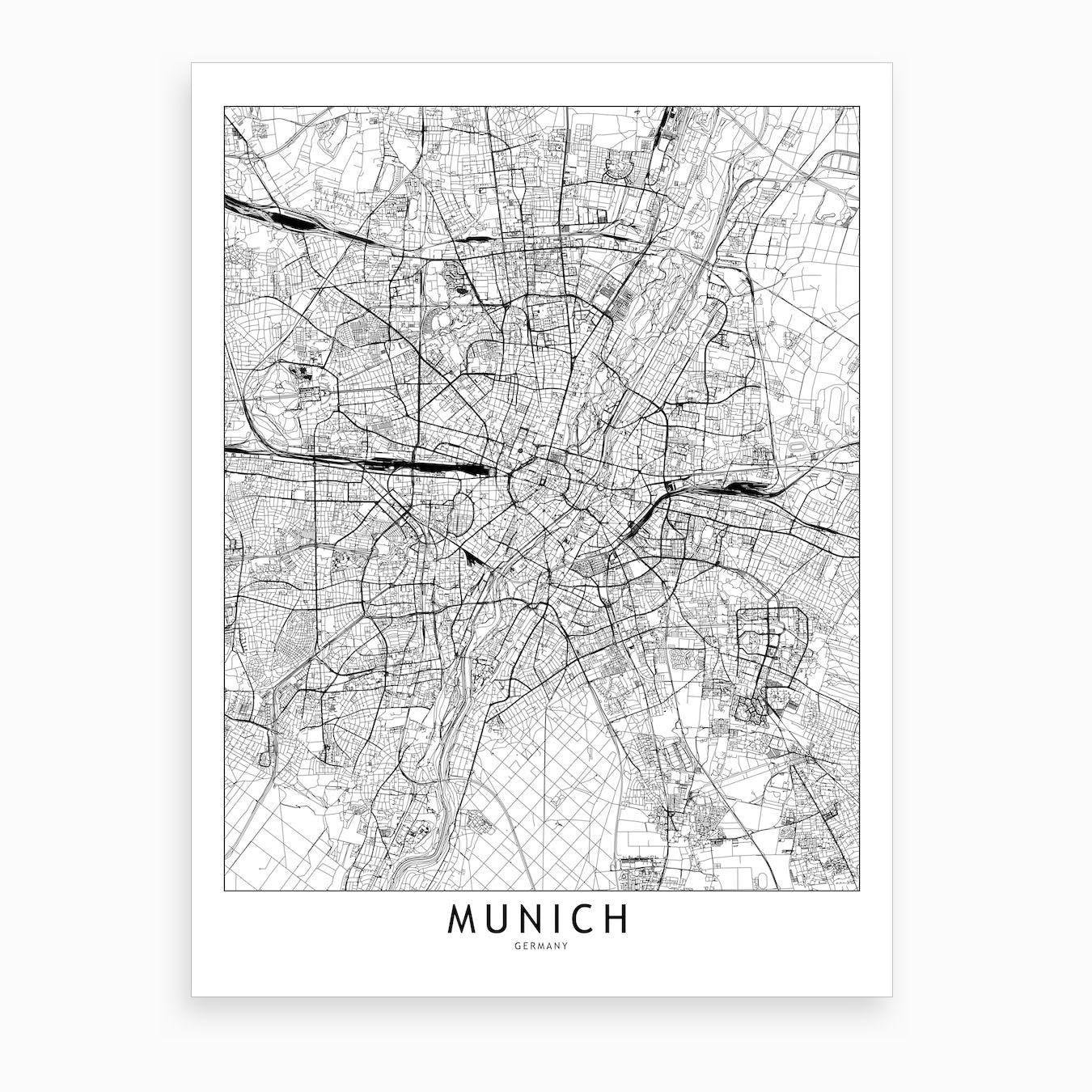 Munich White Map Art Print