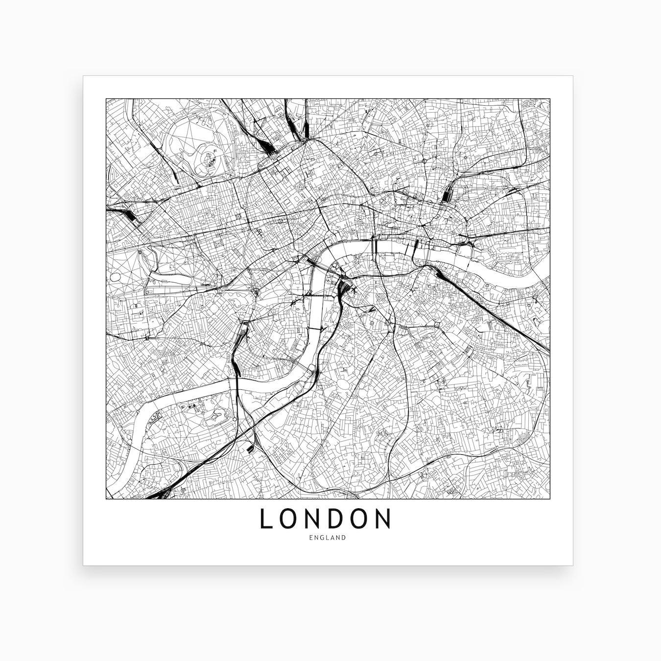 London Atlas Map.London Map Art Print I