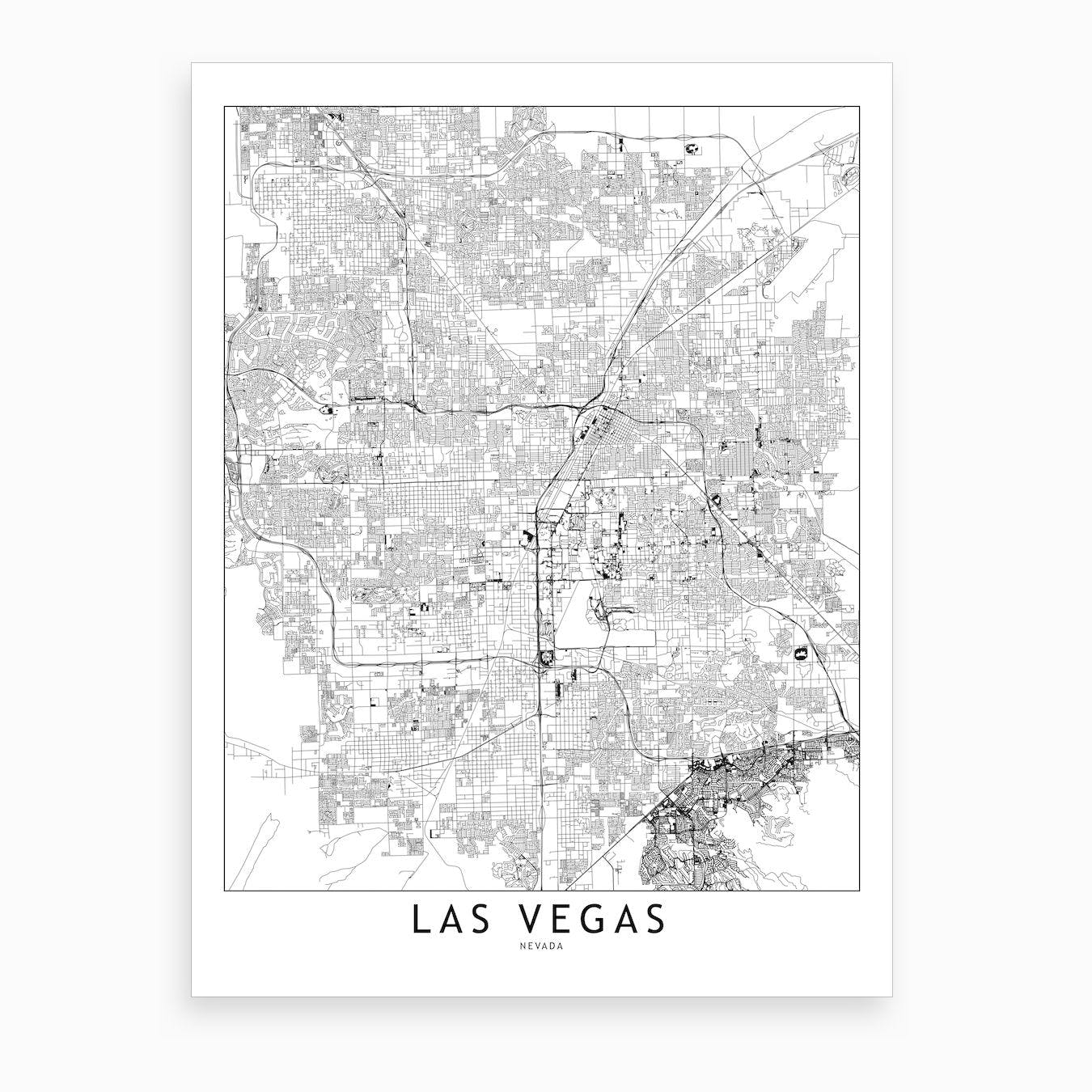 Las Vegas White Map Art Print