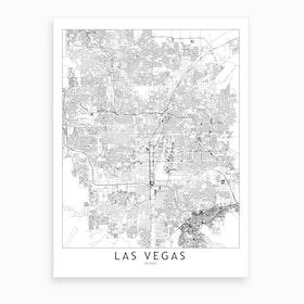 Las Vegas White Map Art Print