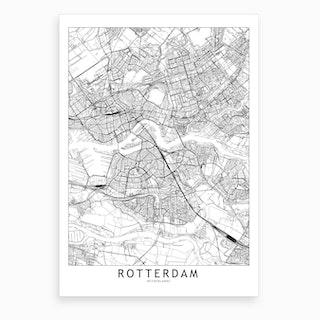 Rotterdam White Map Art Print