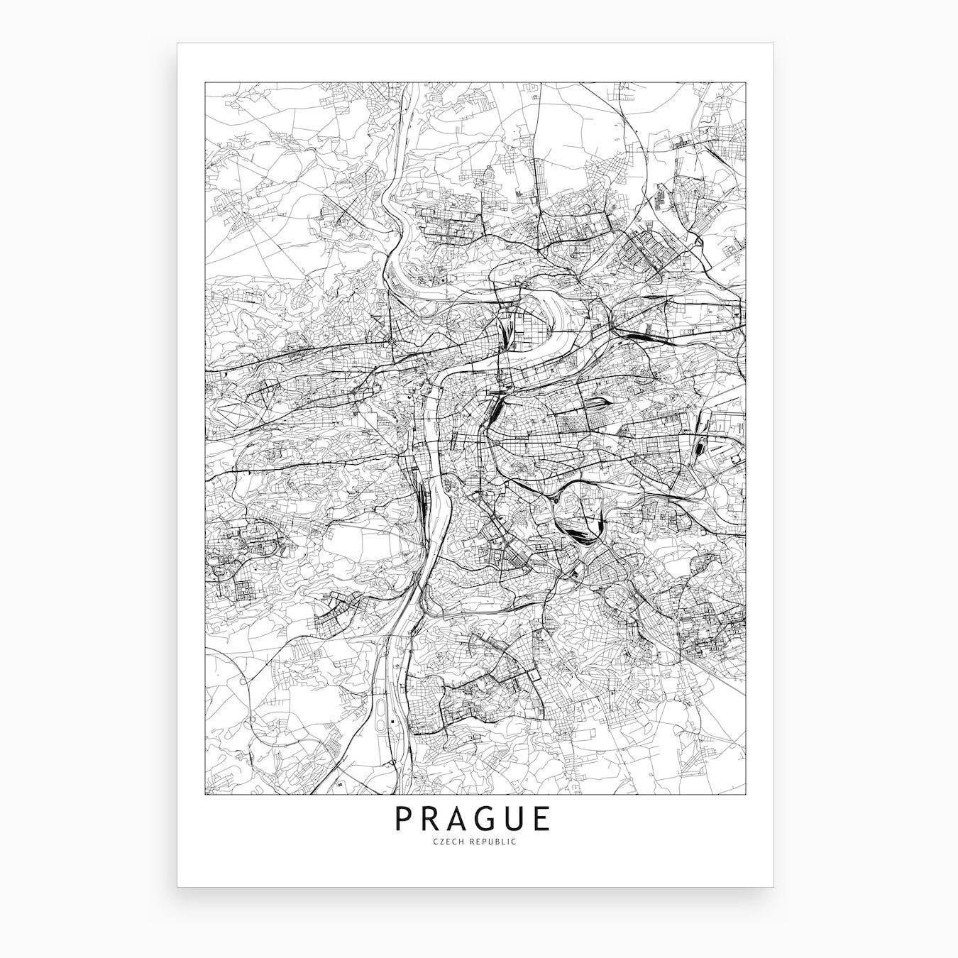Prague White Map Art Print