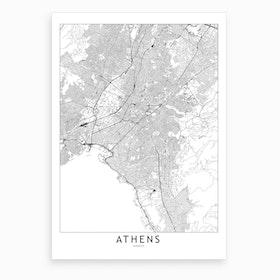 Athens White Map Art Print