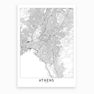 Athens White Map Art Print