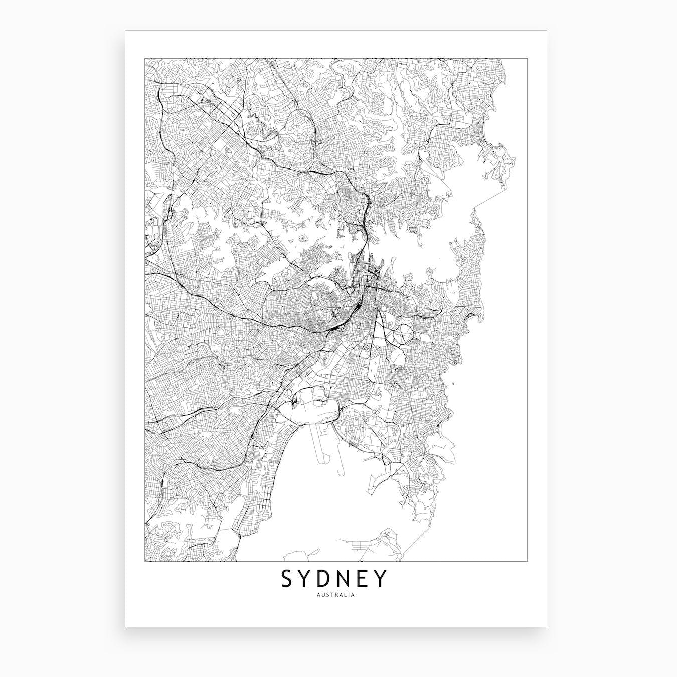 Sydney White Map Art Print