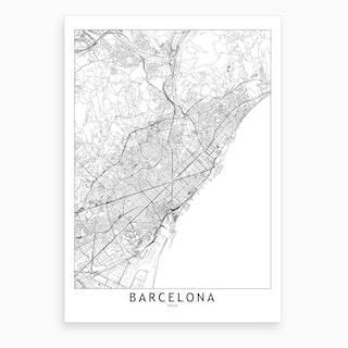 Barcelona White Map Art Print