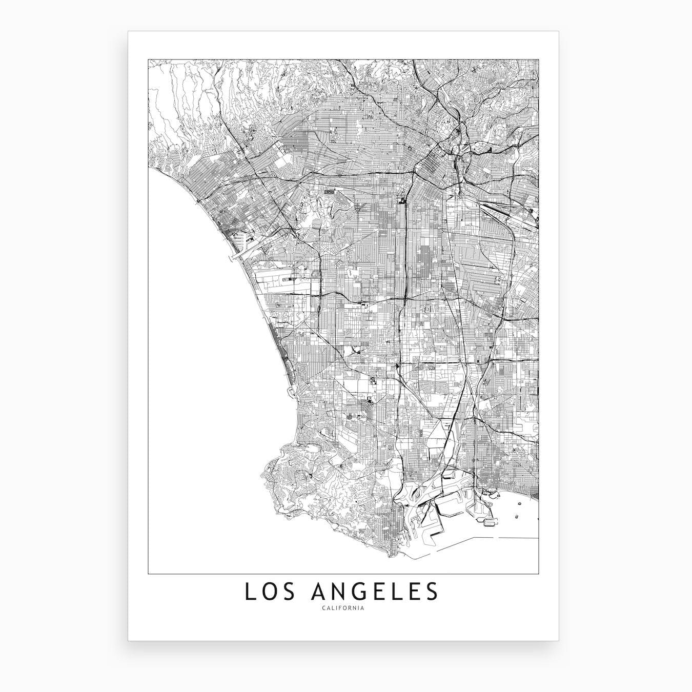 image regarding Printable Maps of Los Angeles identify Los Angeles White Map Artwork Print I