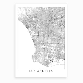 Los Angeles White Map Art Print I
