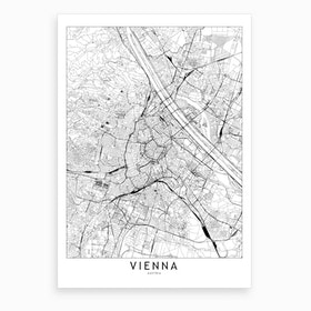 Vienna White Map Art Print