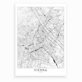 Vienna White Map Art Print