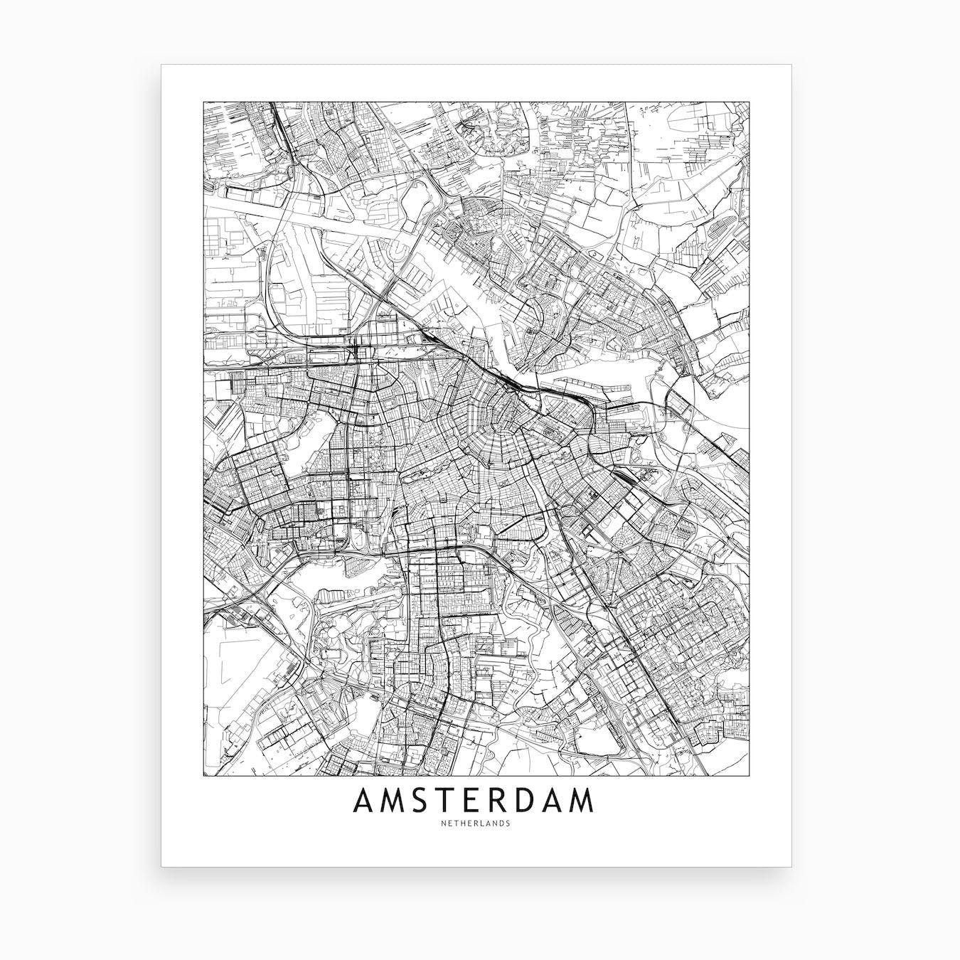Amsterdam White Map Art Print