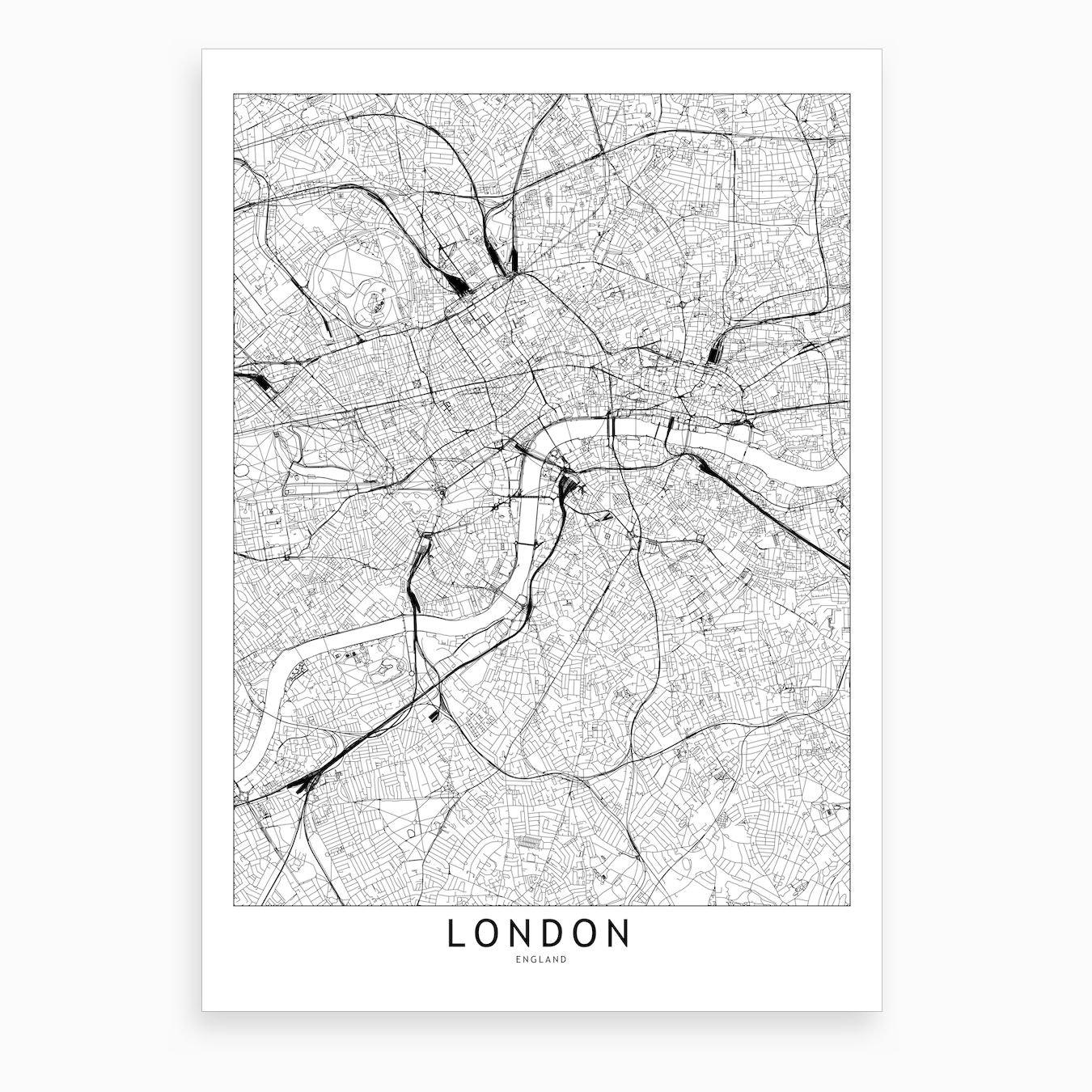 Map F London.London White Map Art Print