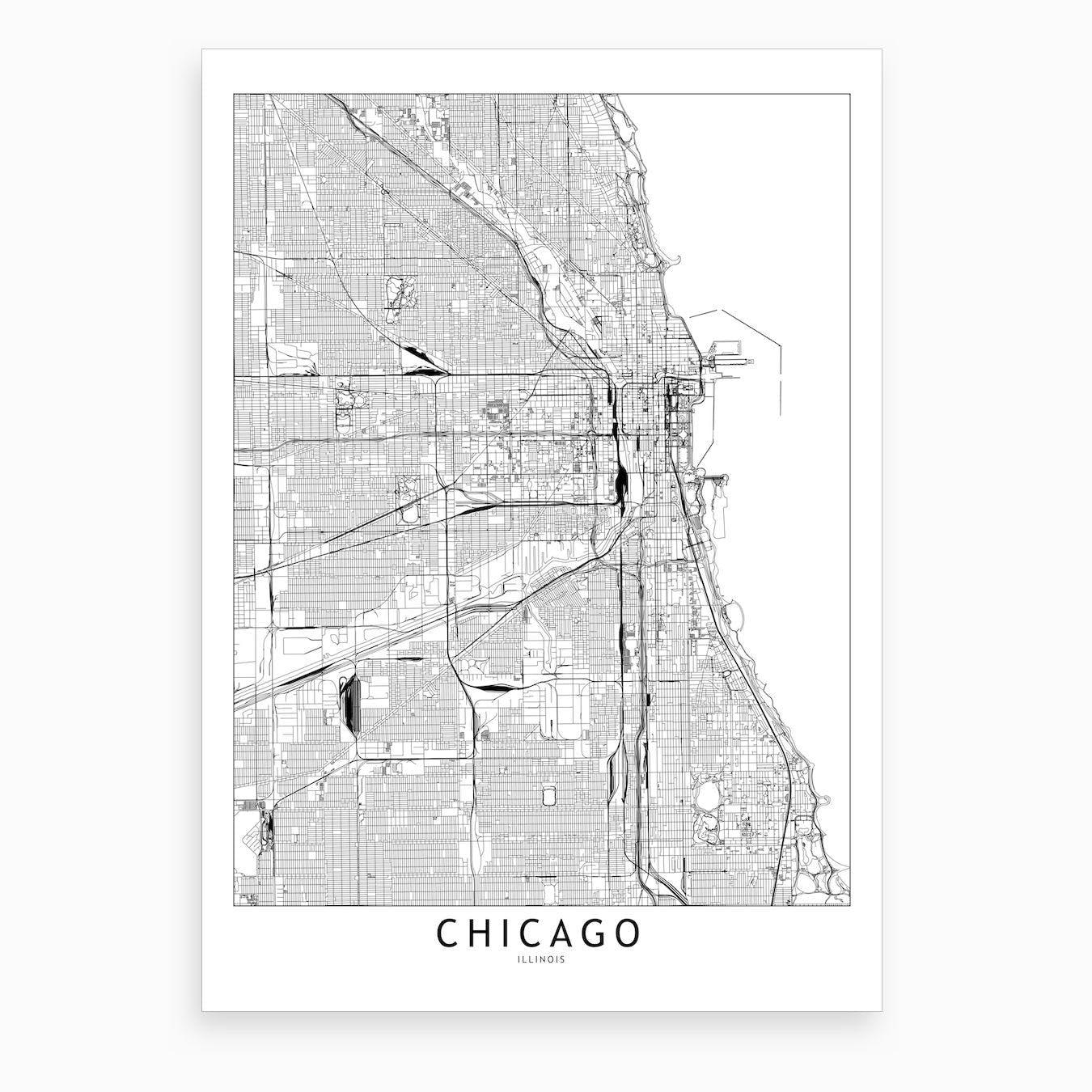 Chicago White Map Art Print