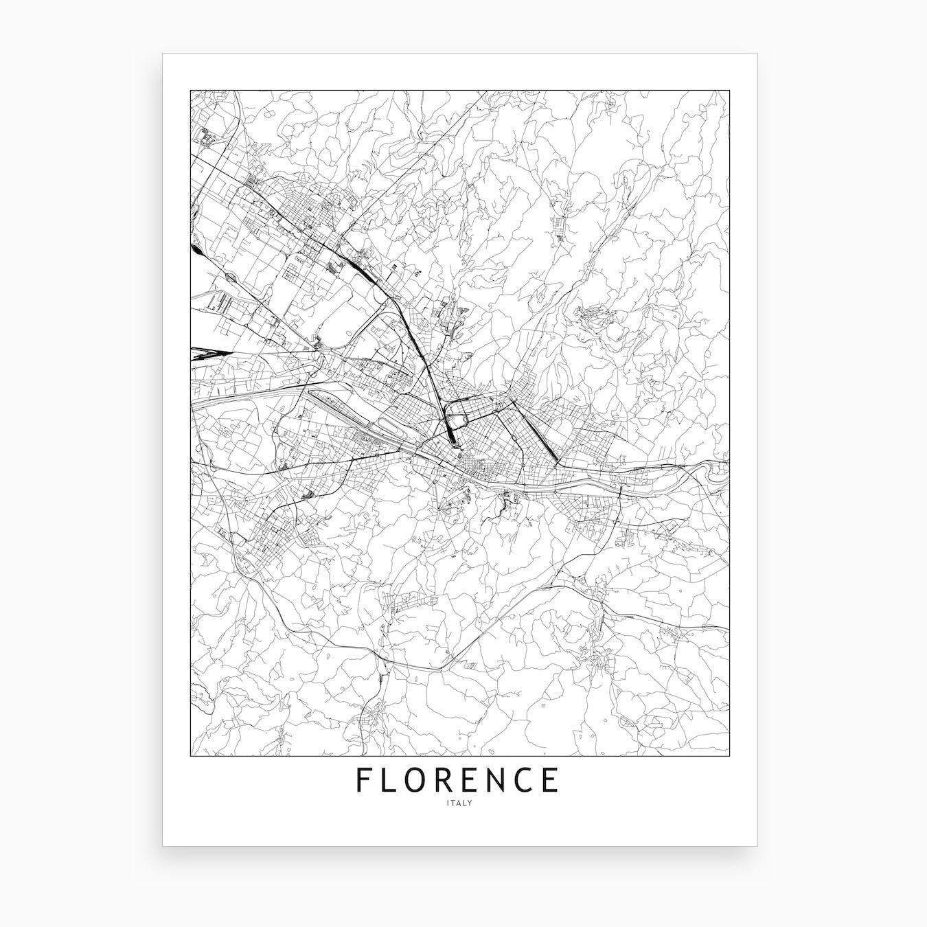 Florence White Map Art Print